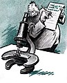 Harold Talburt cartoon 1936, man looking through microscope at smaller man.jpg