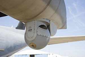 Lockheed Martin KC-130 - Close up of the Target Sight System sensor mounted under the left wing fuel tank