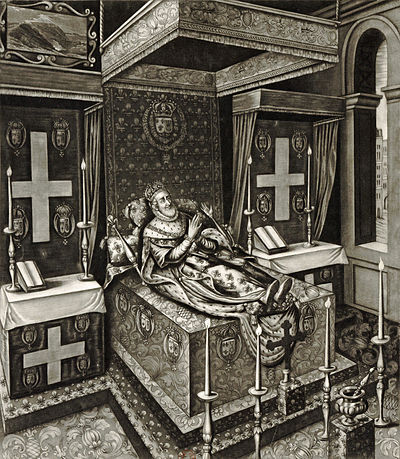 Henry IV of France as he lay in state after his murder in the year 1610, engraving after Quesnel - Gallica 2010 (adjusted)