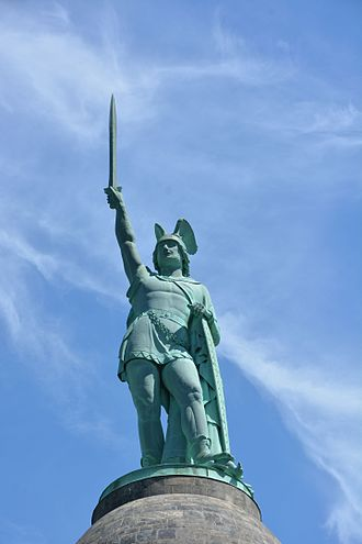 Hermannsdenkmal - The statue up close. The sword has a length of 7 meters and weighs ca. 550 kg