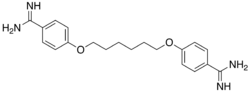 Skeletal formula of hexamidine