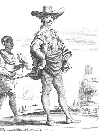 History of the Dominican Republic - A sixteenth-century French depiction of a Hidalgo (non-royal blooded Spanish noble) in the Spanish colonies