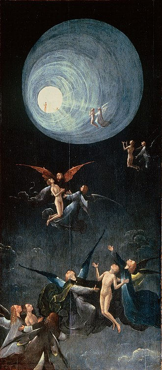 Parapsychology - Ascent of the Blessed by Hieronymus Bosch (after 1490) depicts a tunnel of light and spiritual figures similar to those reported by near-death experiencers.