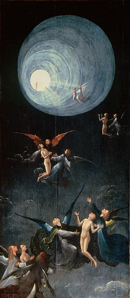 Hieronymus Bosch's Ascent of the Blessed depicts a tunnel of light and spiritual figures, often described in reports of near-death experiences. Hieronymus Bosch 013.jpg