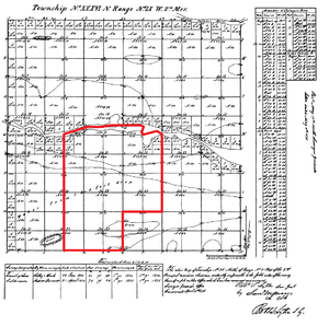 Highland, Lake County, Indiana - An 1836 government survey plat of Indiana Survey Township 36N, Range 9W, 2nd Principal Meridian, with the modern borders of Highland outlined in red.