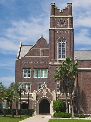 Hillsborough High School (Tampa, Florida) - Main entrance and clock tower.
