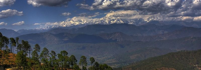 File:Himalayan panoramic landscape as seen from Kausani, Uttarakhand in north India.jpg