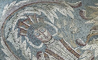 Madaba - Detail of the Hippolytus mosaic in the Archaeological Park of Madaba