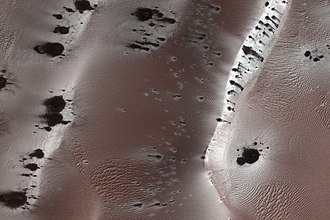 Geysers on Mars - Dark dune spots. High resolution color image by the HiRISE camera