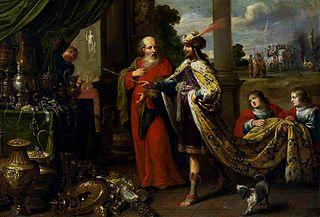 Croesus showing his treasures to Solon.