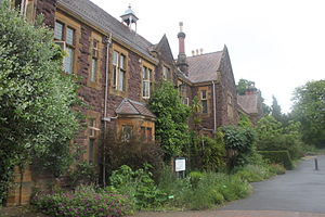 Halls of residence at the University of Bristol - The Holmes and part of the University of Bristol Botanic Garden.