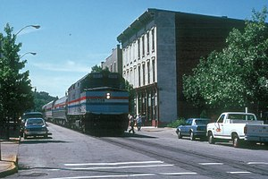 Hoosier State (train) - Until 1994, the Hoosier State had a section of on-street running in Lafayette