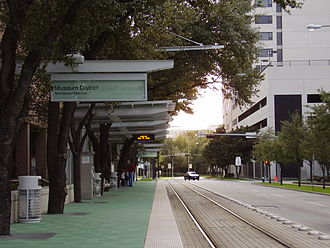 METRORail Red Line - In Houston's Museum District, northbound and southbound trains take separate streets.