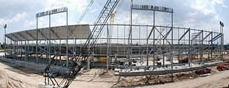 TDECU Stadium - Construction of the north side stands in September 2013