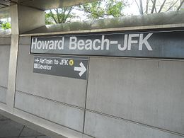 Station sign at the Howard Beach-JFK Airport station in Queens