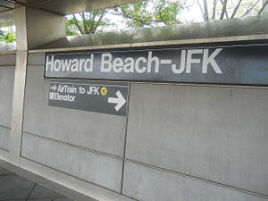 "New York City Subway nomenclature - The name of the Howard Beach–JFK Airport station in Queens bears the neighborhood's name of Howard Beach, as well as advertises its connection to John F. Kennedy International Airport via the ""AirTrain to JFK."""
