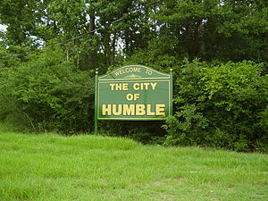 Humble, Texas - Sign marking Humble
