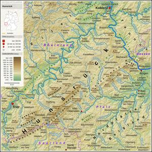 Location of the Hunsrück in Rhineland-Palatinate and Saarland