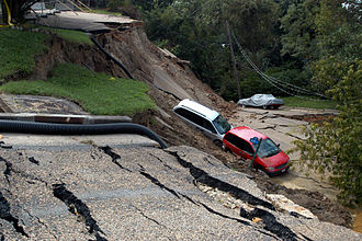 Hurricane Gaston (2004) - This section of E. Grace Street in Richmond washed out as a result of the heavy rainfall.