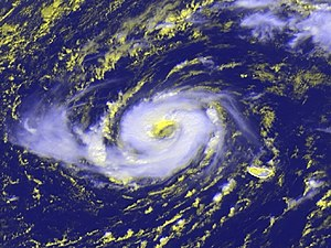 Hurricane Vince - Hurricane Vince on 9 October, northwest of the Madeira Islands. For comparison, the main island of the Madeiras (the largest island pictured) is approximately 35 miles (57 km) long.