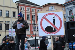 Islamophobia - Speaker at demonstration of initiative We don't want Islam in the Czech Republic on March 14, 2015 in České Budějovice, Czech Republic