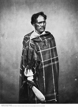 Ihaia Te Kirikumara - Ihāia Te Kirikūmara. Otaraua, Te Āti Awa. from Sir George Grey Special Collections, Auckland Libraries