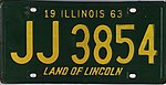 Illinois 1963 license plate - Number JJ 3854.jpg