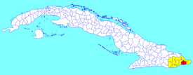 Imías municipality (red) within  Guantánamo Province (yellow) and Cuba