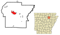 Independence County Arkansas Incorporated and Unincorporated areas Batesville Highlighted.svg