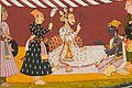 India, Bilaspur - Madhava in a tent before a ruler, from a Madhavanala Kamakandala series - 2018.92 - Cleveland Museum of Art (cropped).jpg