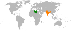 Map indicating locations of Libya and India