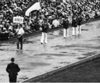 Indonesia at the 1952 Summer Olympics - The Indonesian team at the opening ceremony. A flag-bearer was followed by the three athletes.