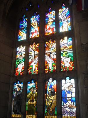 Soldiers' Tower - One of the stained glass windows at the tower