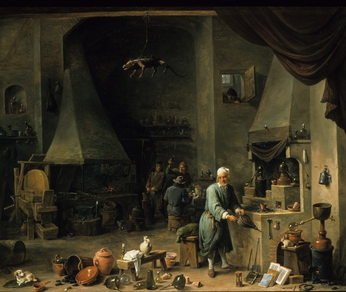 File:Interior of a Laboratory with an Alchemist 17th century David Teniers II.tif