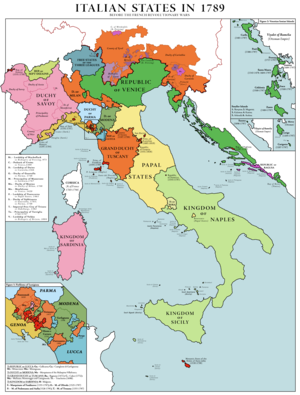 Fall of the Republic of Venice - The states of the Italian peninsula in 1789. The territories of the Republic of Venice are shown in green, both on the Italian mainland (Terraferma), as well as its overseas possessions (Venetian Dalmatia and the Venetian Ionian Islands)