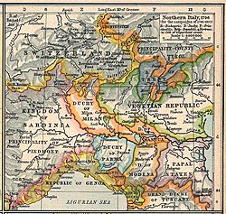 Northern Italy in 1796; the Duchy of Mantua can be seen centre-right, shaded in orange, as part of the Duchy of Milan.