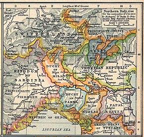 Novi riportata in una mappa del 1796.
