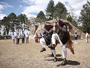 Iximche - Dancers and marimba performing at Iximche for the 2007 visit of the presidents of Guatemala and the United States