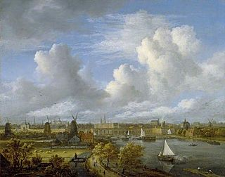 <i>Panoramic view of the Amstel looking toward Amsterdam</i> painting by Jacob van Ruisdael