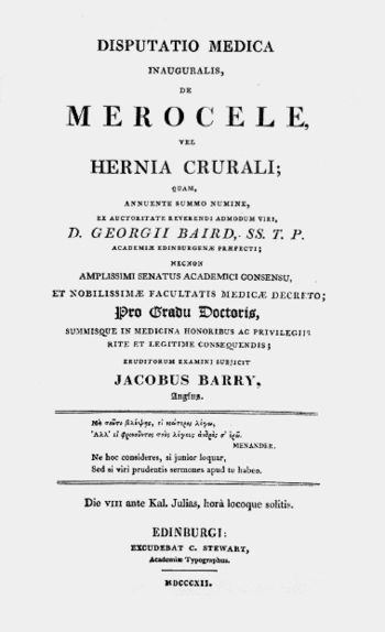 English: Title page of Barry's thesis.