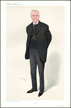 """James Hozier, 2nd Baron Newlands - """"Jim""""Lord Newlands as caricatured by Spy (Leslie Ward) in Vanity Fair, May 1909"""