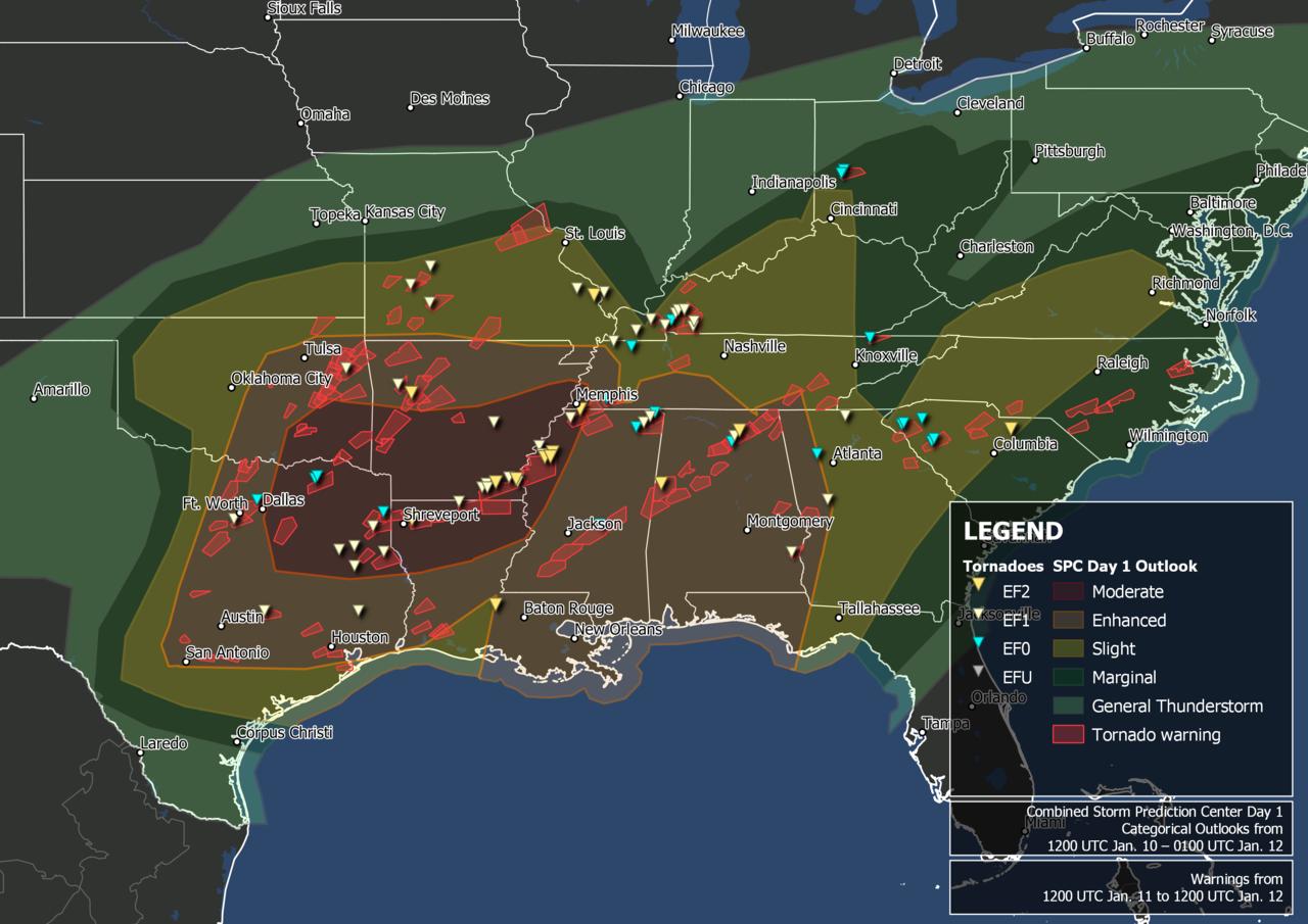 De 10 a 12 de janeiro de 2020, avisos e relatórios sobre surtos de tornados.png