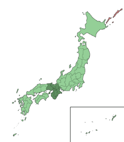 Cairt shawin the Kansai region o Japan. It comprises the mid-wast aurie o the island o Honshu.