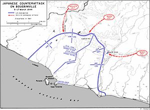 A map of the US perimeter on Bougainville showing the locations described in the article
