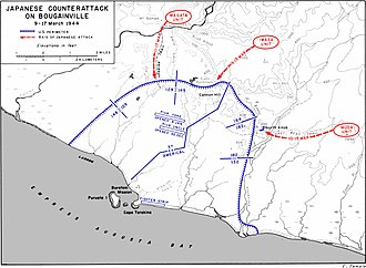 Bougainville counterattack - The Japanese counterattack on Bougainville between 9 and 17 March 1944. The US perimeter is marked in blue while Japanese troop movements are shown in red.