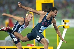 2011 World Championships in Athletics – Men's 110 metres hurdles - Jason Richardson winning the 110m hurdles.  In background Andy Turner.