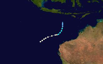 1972–73 Australian region cyclone season - Image: Jean 1973 track