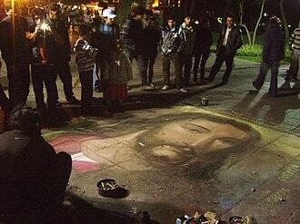 Street painting - A street painting of Jesus in Peru