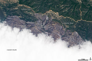 Jesusita Fire - Satellite image of the Jesusita Fire burn scar on May 10, 2009, taken from the Earth Observing-1 (EO-1) satellite . Image shows the northern part of the burned area, which stretches from the outskirts of Santa Barbara (hidden beneath clouds) into the Los Padres National Forest.