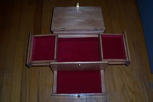 Decorative box - A jewel box lined with red velvet